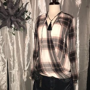 Faux WrP soft flannel top